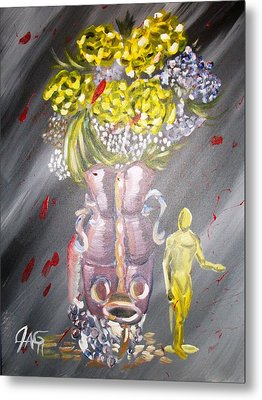 Metal Print featuring the painting Manuvase by The GYPSY And DEBBIE