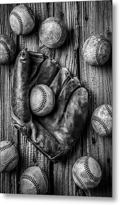 Many Baseballs In Black And White Metal Print