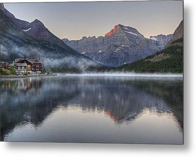 Many Glacier Hotel On Swiftcurrent Lake Metal Print by Darlene Bushue