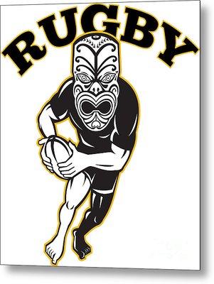 Maori Mask Rugby Player Running With Ball Metal Print by Aloysius Patrimonio