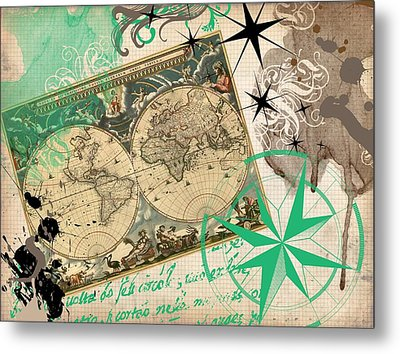Map Collage Metal Print by Cindy Edwards