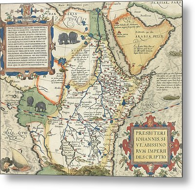 Map Of Africa And The Arabian Peninsula Metal Print by Abraham Ortelius