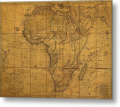 Map Of Africa Circa 1829 On Worn Canvas Metal Print by Design Turnpike