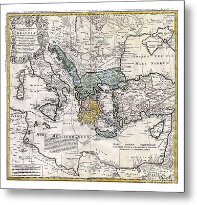 Map Of Ancient Greece And The Eastern Mediterranean By Heirs Homann - 1741 Metal Print by Pablo Romero