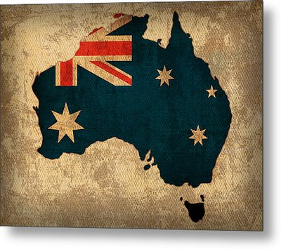 Map Of Australia With Flag Art On Distressed Worn Canvas Metal Print by Design Turnpike