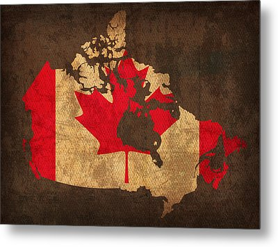 Map Of Canada With Flag Art On Distressed Worn Canvas Metal Print by Design Turnpike