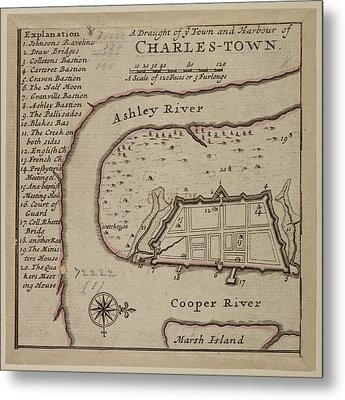 Map Of Charles-town Metal Print by British Library