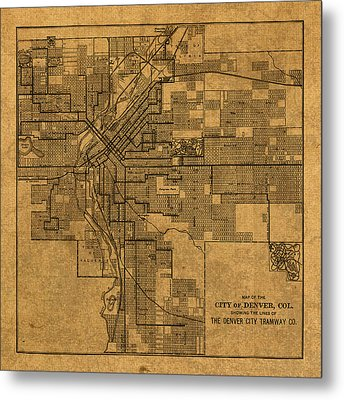 Map Of Denver Colorado City Street Railroad Schematic Cartography Circa 1903 On Worn Canvas Metal Print by Design Turnpike