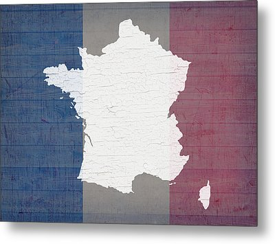 Map Of France In White Old Paint On French Flag Barn Wood  Metal Print