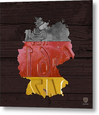 Map Of Germany Plus German Flag License Plate Art On Gray Wood Board Metal Print by Design Turnpike