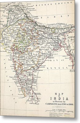 Map Of India Metal Print by Alexander Keith Johnson