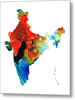 Map Of India By Sharon Cummings Metal Print