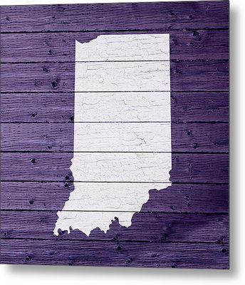 Map Of Indiana State Outline White Distressed Paint On Reclaimed Wood Planks Metal Print by Design Turnpike