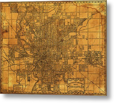 Map Of Indianapolis Vintage Bicycle And Driving Street Diagram On Weathered Parchment Metal Print by Design Turnpike