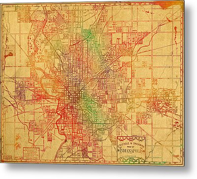 Map Of Indianapolis Vintage Bicycle And Driving Watercolor Street Diagram Painting On Parchment Metal Print by Design Turnpike