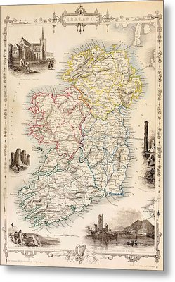 Map Of Ireland From The History Of Ireland By Thomas Wright Metal Print by English School
