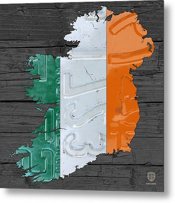 Map Of Ireland Plus Irish Flag License Plate Art On Gray Wood Board Metal Print