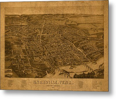 Map Of Knoxville Tennessee In 1886 On Worn Distressed Canvas Parchment Metal Print by Design Turnpike