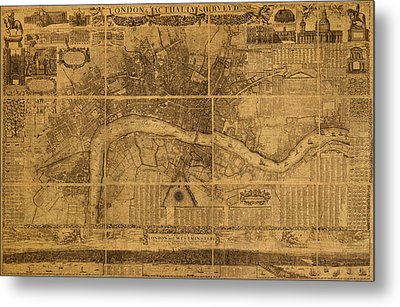 Map Of London England Old Parchment Circa 1905 Metal Print by Design Turnpike