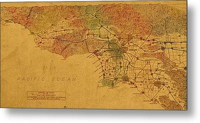 Map Of Los Angeles Hand Drawn And Colored Schematic Illustration From 1916 On Worn Parchment Metal Print