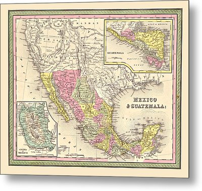 Map Of Mexico Metal Print by Gary Grayson