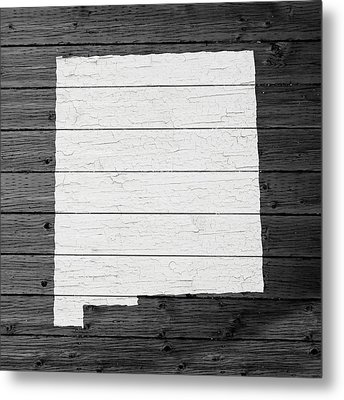 Map Of New Mexico State Outline White Distressed Paint On Reclaimed Wood Planks Metal Print by Design Turnpike