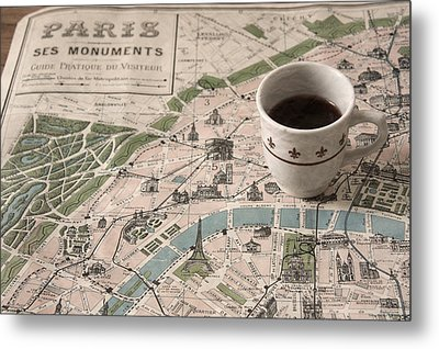 Metal Print featuring the photograph Map Of Paris And Demi Tasse by Brooke T Ryan
