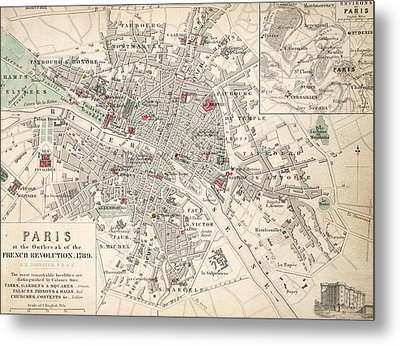 Map Of Paris At The Outbreak Of The French Revolution Metal Print by French School