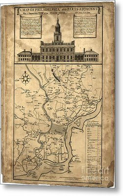 map of Philadelphia and parts adjacent - 1752 Metal Print by Pablo Romero