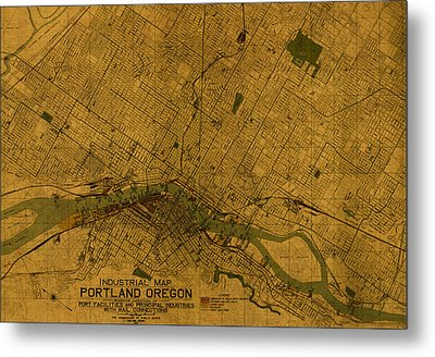 Map Of Portland Oregon City Street Schematic Cartography Circa 1924 On Worn Parchment  Metal Print by Design Turnpike