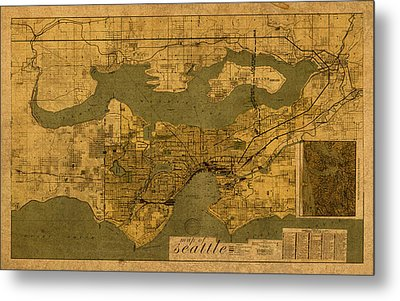 Map Of Seattle Washington Vintage Old Street Cartography On Worn Distressed Parchment Metal Print by Design Turnpike
