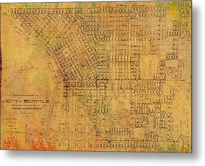 Map Of Seattle Washington Water Pipe And Street Map Vintage Hand Colored Diagram On Worn Parchment Metal Print