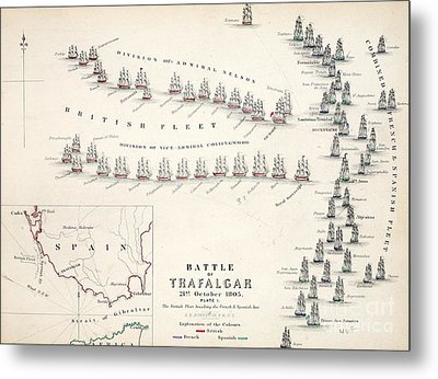 Map Of The Battle Of Trafalgar Metal Print