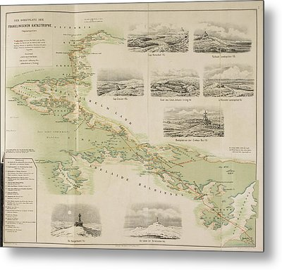 Map Of The British Franklin Expedition Metal Print