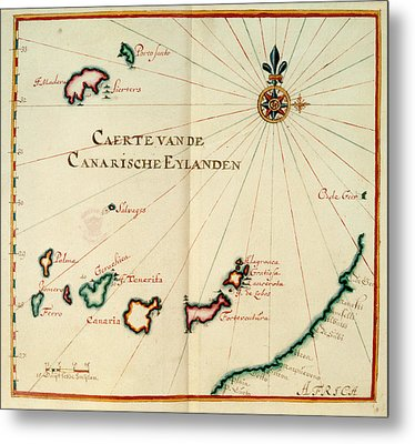 Map Of The Canary Islands Metal Print by British Library