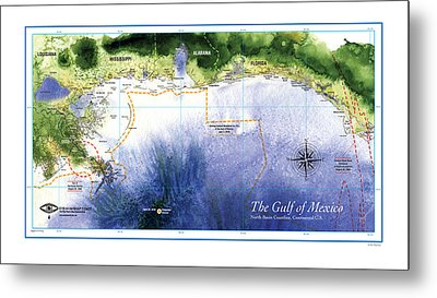 Map Of The Gulf Of Mexico Northern Coast Metal Print