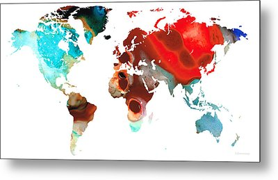 Map Of The World 5 -colorful Abstract Art Metal Print by Sharon Cummings