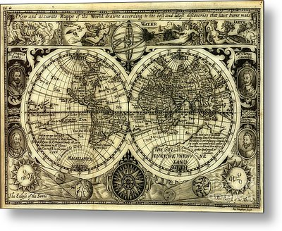 Map Of The World Antique Reproduction Metal Print by Inspired Nature Photography Fine Art Photography