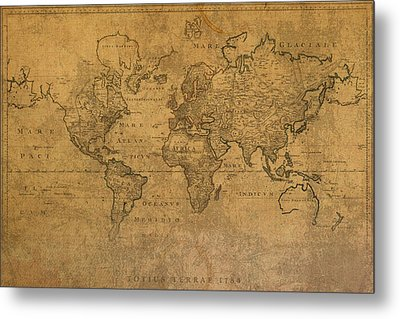 Map Of The World In 1784 Latin Text On Worn Stained Vintage Parchment Metal Print