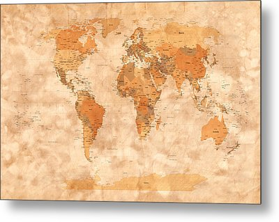 Map Of The World Metal Print by Michael Tompsett