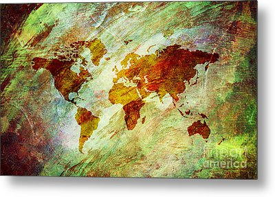 Metal Print featuring the digital art Map Of The World by Mohamed Elkhamisy