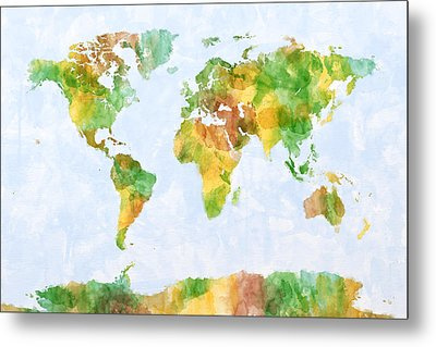 Map Of The World Watercolour Metal Print by Michael Tompsett