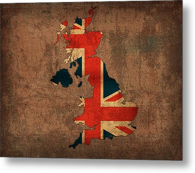 Map Of United Kingdom With Flag Art On Distressed Worn Canvas Metal Print by Design Turnpike