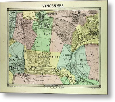 Map Of Vincennes France Metal Print