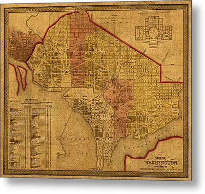 Map Of Washington Dc In 1850 Vintage Old Cartography On Worn Distressed Canvas Metal Print by Design Turnpike