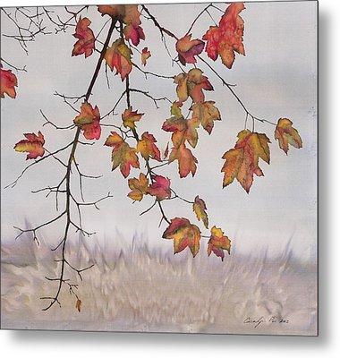 Maple In Gray Sky Metal Print by Carolyn Doe