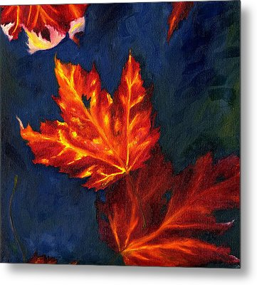 Metal Print featuring the painting Maple Leaves In Autumn by MM Anderson