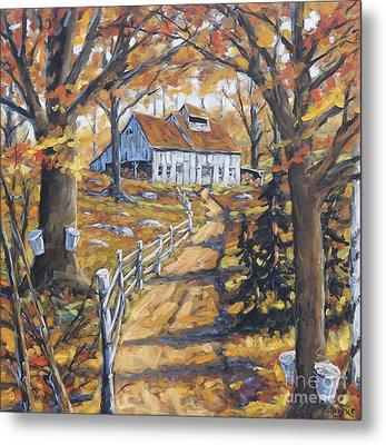 Maple Sugar Bush  Road By Prankearts Metal Print by Richard T Pranke
