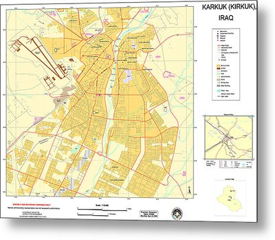 Maps Of Al Basrah And Kirkuk Iraq 2003 Metal Print by MotionAge Designs