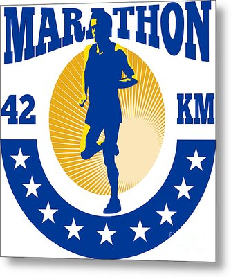 Marathon Runner Athlete Running Metal Print by Aloysius Patrimonio